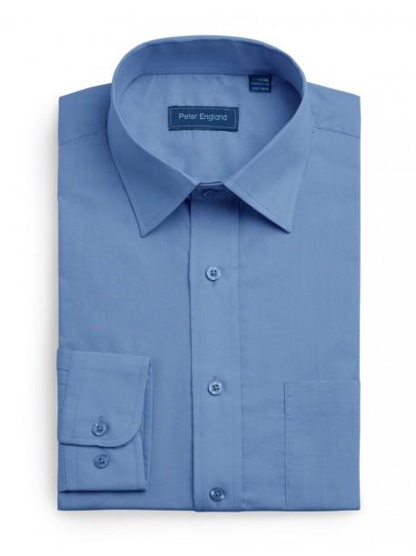 Peter England Plain Pride Shirt Cobalt