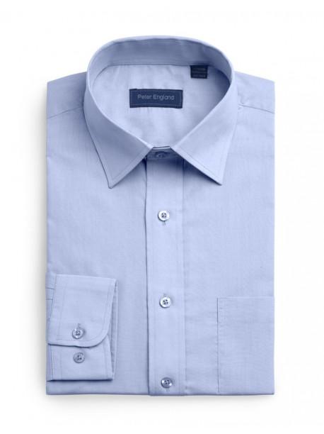 Peter England Plain Pride Shirt Light Blue