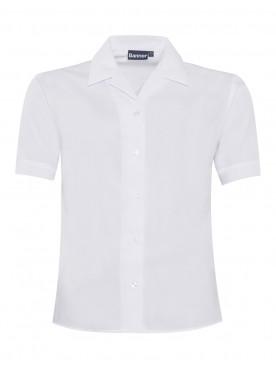 White Short Sleeved Rever Collar Blouse TWIN PACK