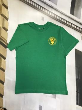 St Wilfrids Green PE T Shirt with School Logo