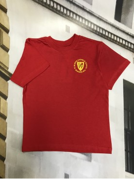 St Wilfrids Red PE T Shirt with School Logo