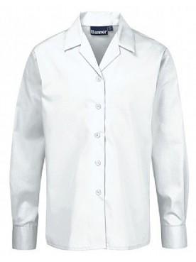 White Long Sleeved Rever Collar Blouse