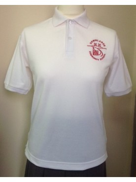 Downlands White Polo with logo