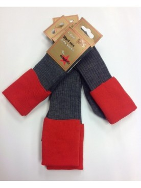 Sompting School Socks Grey/Red Top