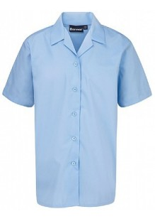 Blue Short Sleeved Rever Collar Blouse